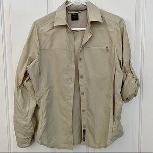 REI Hiking Shirt Convertible Button Up Tan XS